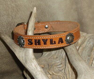 Dog Collar Berry (Custom Saddle Tan Leather Dog Collar Your Dogs Name 1