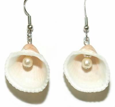 Faux Shell Earrings - BEAUTIFUL SEA SHELL WITH FAUX PEARL DANGLE EARRINGS (D365)