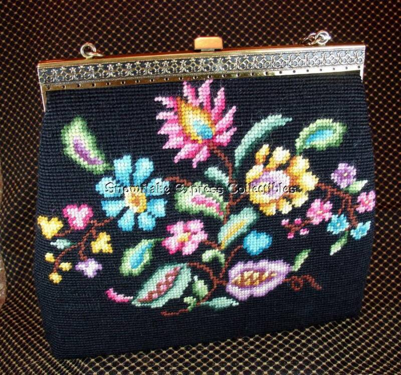 Vintage Stunning Floral Needle Point Handbag w Brass Scroll Trim