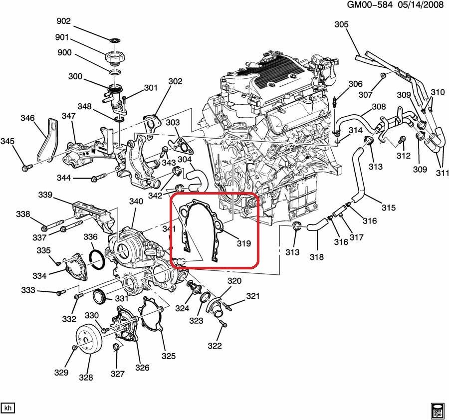 [XOTG_4463]  Gasket Engine Front Cover GENUINE GM 12604474 Fits Various 2006-2011 3.5L,  3.9L | eBay | Gm 308 Engine Diagram |  | eBay