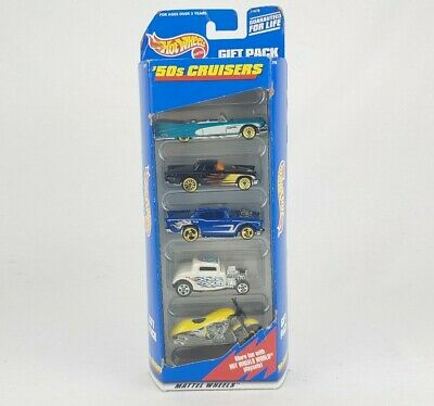 1999 Mattel Hot Wheels '50s Cruisers Gift Pack Set 5 Cars Motorcycle NIB