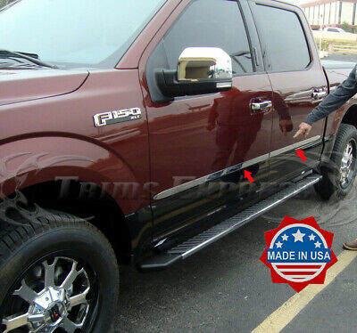 "2015-2020 Ford F-150 Crew Cab 4Pc Flat Body Side Molding Trim 1.5"" Chrome"