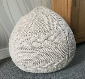 New Knitted Beanbag / Pouffe / Footstool - Cream