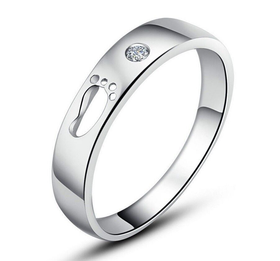 Men 14K White Gold Plated Solid 925 Sterling Silver Wings Promise Ring w/ CZ Fashion Jewelry