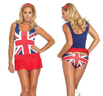 British Flag Costume (Retro Cheeky Brit British Flag Costume, Leg Avenue 83769, 3 Piece Size XS to)