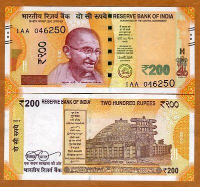India  200 Rupees  2017  P New  Unc   Gandhi  1Aa Series