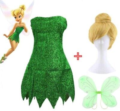 Costume Tinker Bell Green Mini Dress Wig wings Tinkerbell  (Cosplay Fairy Wings)