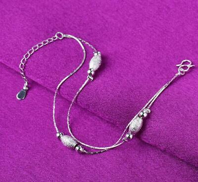 925 Sterling Silver Rotate Olive bead Ankle Bracelet Double Chain Foot Anklet