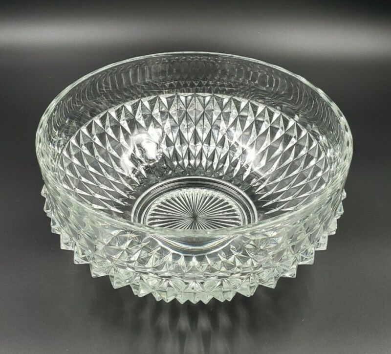 Indiana Glass Diamond Point Clear Heavy Pressed Glass Salad Fruit Serving Bowl