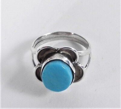 Unsigned - ZUNI - Sterling Silver Sleeping Beauty Turquoise Flower Ring - Size 5