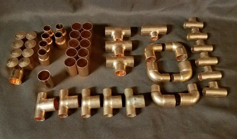 "47 Wrot Copper 3/4"", 1/2"" Fittings, Tees, Reducers, Caps,90, Coupling"