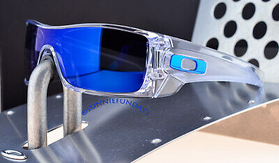 Oakley BATWOLF Polished CLEAR w ICE IRIDIUM 9101-07 Both Blue & Chrome Icons