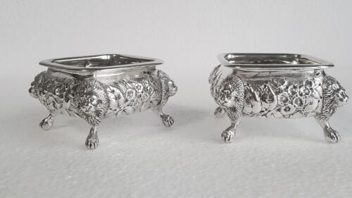 REMARKABLE HOWARD & CO STERLING SILVER REPOUSSE FOOTED LIONS HEADS MASTER SALTS