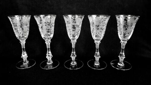"""5 Cambridge Wildflower #3121 Clear 5 7/8"""" Tall 2.5 oz Wine Glasses / Goblets"""