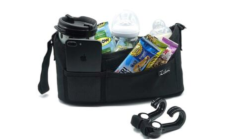 Stroller Organizer with Two 2 Insulated Cup Holders -Universal and Unisex with +