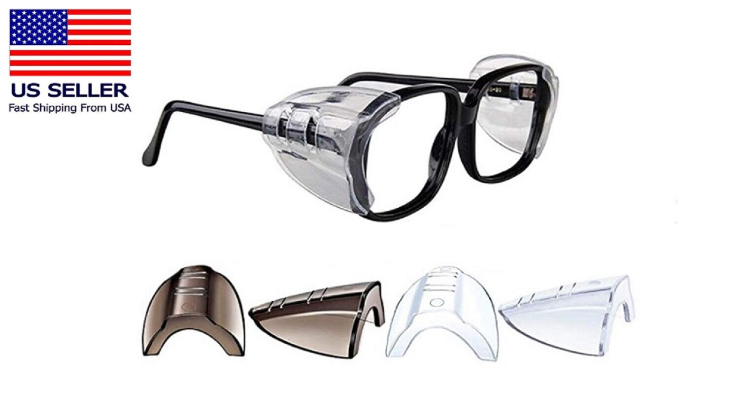 2 Pairs Side Shields for Eye Glasses Slip On Safety Glasses Shield Universal US Business & Industrial