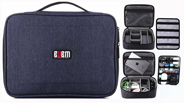 BUBM Large Electronic Organizer Bag Zippered Mesh Travel Acc