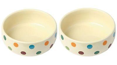 2 er Set Keramiknapf Dots für Hunde Katzen Futternapf Wassernapf Steintrog