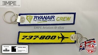 New   Ryanair Crew Tag Key Chain Ring Boeing 737 800 Pilot Embroidered   Rare