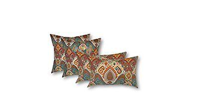 Set of 4 - In/Outdoor Boho Paisley Lumbar Throw Pillows - 20