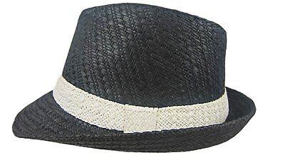 Dobbs Mini Black Straw Hat Fedora Size S/M