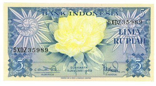 Indonesia  ... P-65 ... 5  Rupiah ... 1959 ... Gem *UNC* Replacement-XDZ