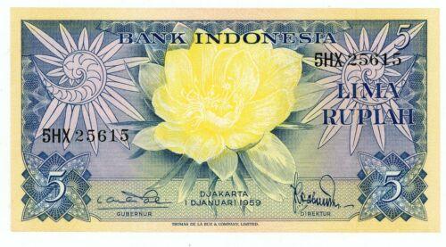 "Indonesia ... P-65 ... 5  Rupiah ...1959 ... Choice *UNC* Replacement- ""X"" (5HX)"