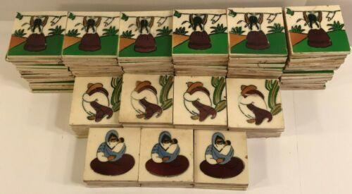 Antique Vintage Mexican Tile Lot Ciasa Mexico Ceramic 3x3