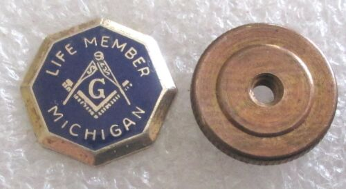 Vintage Mason Life Member Michigan Award Lapel Pin - Masonic Freemason Lodge