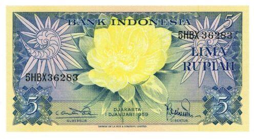 Indonesia  ... P-65 ... 5  Rupiah ... 1959 ... Gem *UNC* Replacement-HBX