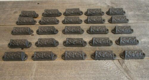 "25 CAST IRON BROWN 3"" ORNATE PULLS DRAWER CABINET BIN HANDLES RUSTIC VINTAGE"