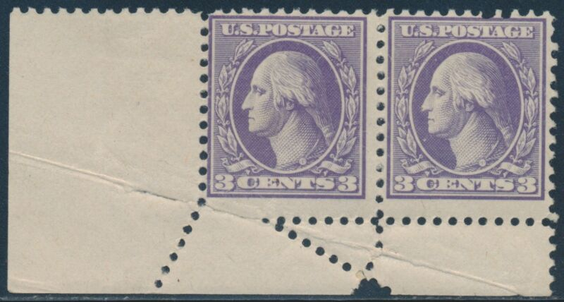 #530 Var. 3¢ Washington Pair With Fold-over Error Br4923