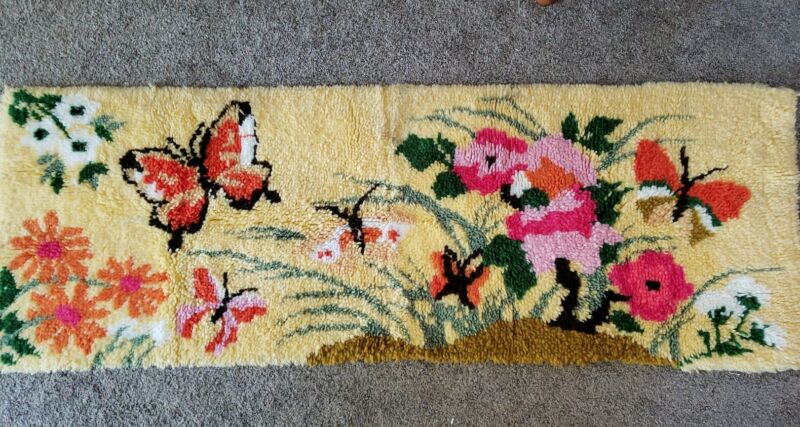 "Vtg 70s Completed Latch Hook Rug Wall butterflies flowers Colorful 23""x 67"""