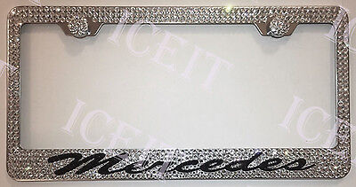 MERCEDES Stainless Steel license plate frame madewith Swarovski Crystals
