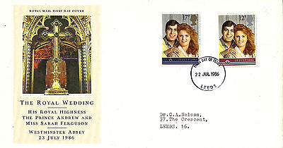 22 JULY 1986 ROYAL WEDDING ROYAL MAIL FIRST DAY COVER LEEDS FDI