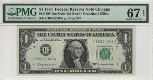 1963 $1 FEDERAL RESERVE NOTE CHICAGO FR.1900-G MULE PMG SUBERB GEM 67 EPQ (343A)