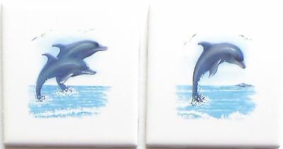 Dolphin Ceramic Tile Accent set 2 of 4.25 Blue Dolphins Fish Kiln fired Decor #2