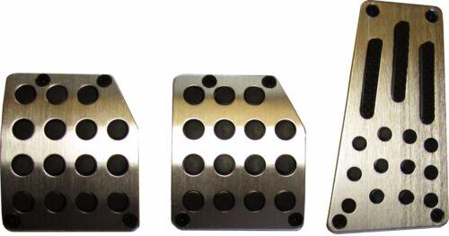 Universal 3 Piece car Pedal Cover set CHROME Silver FOOT PADS sport rubber grip