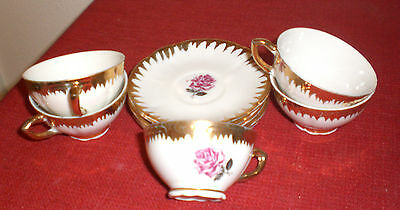 Vintage Veritable Porcelain Deluxe Italy Child's Tea Cups & Saucers Set of Five (Deluxe Porcelain Tea Set)