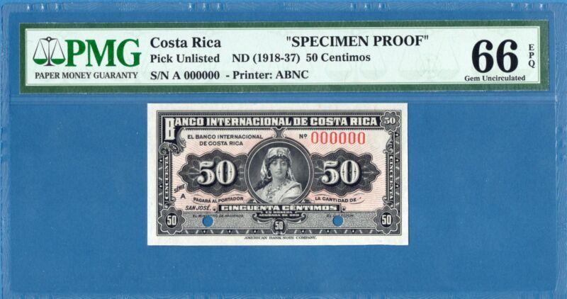Costa Rica, 50 Centimos, 1918-37, 000000 Specimen, Gem UNC-PMG66EPQ