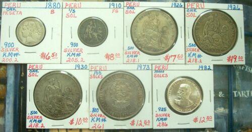 Lot of 7 silver coins 1880-1982 Peru 1 peseta 1/5 sol 1 sol 100 soles 1000 soles