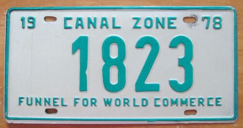 Canal Zone 1978 FUNNEL FOR WORLD COMMERCE License Plate NICE QUALITY # 1823