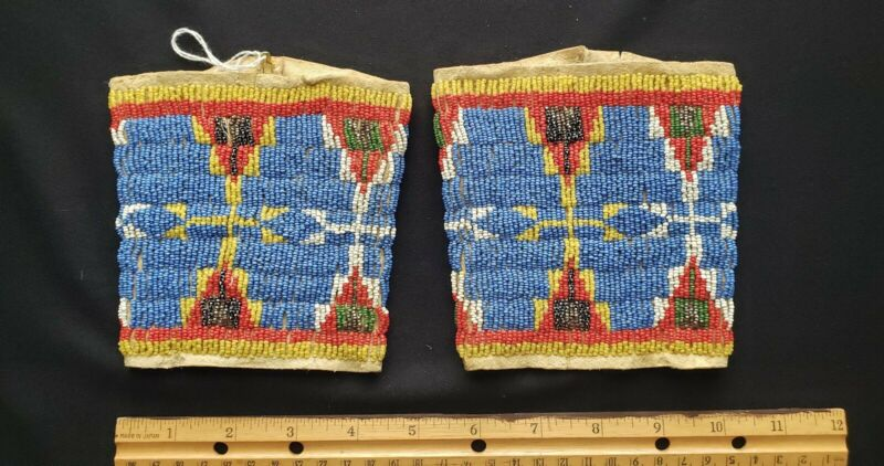Native American Indian Heritage , Sioux Cuffs,  Beaded on Buckskin, 19th Century