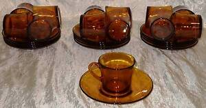 26 piece Retro Vintage Duralex France Amber Glass Cups Saucers South Windsor Hawkesbury Area Preview