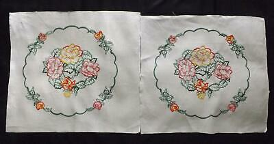 Pair of Hand Embroidered Irish Linen Panels Flowers Cushion Fronts Pictures Etc