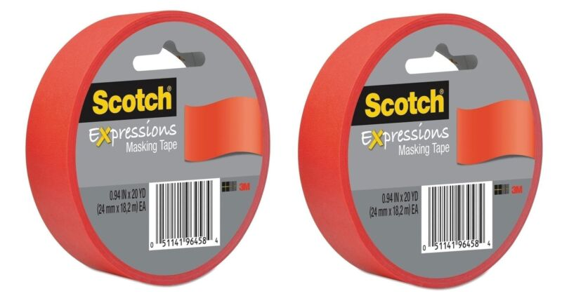 Scotch Expressions Masking Tape, 0,94-Inch x 20-Yards, Primary Red...