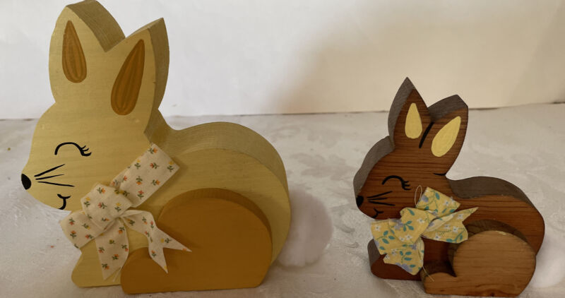 Musical Wooden Easter Bunnies - large bunny plays easter parade