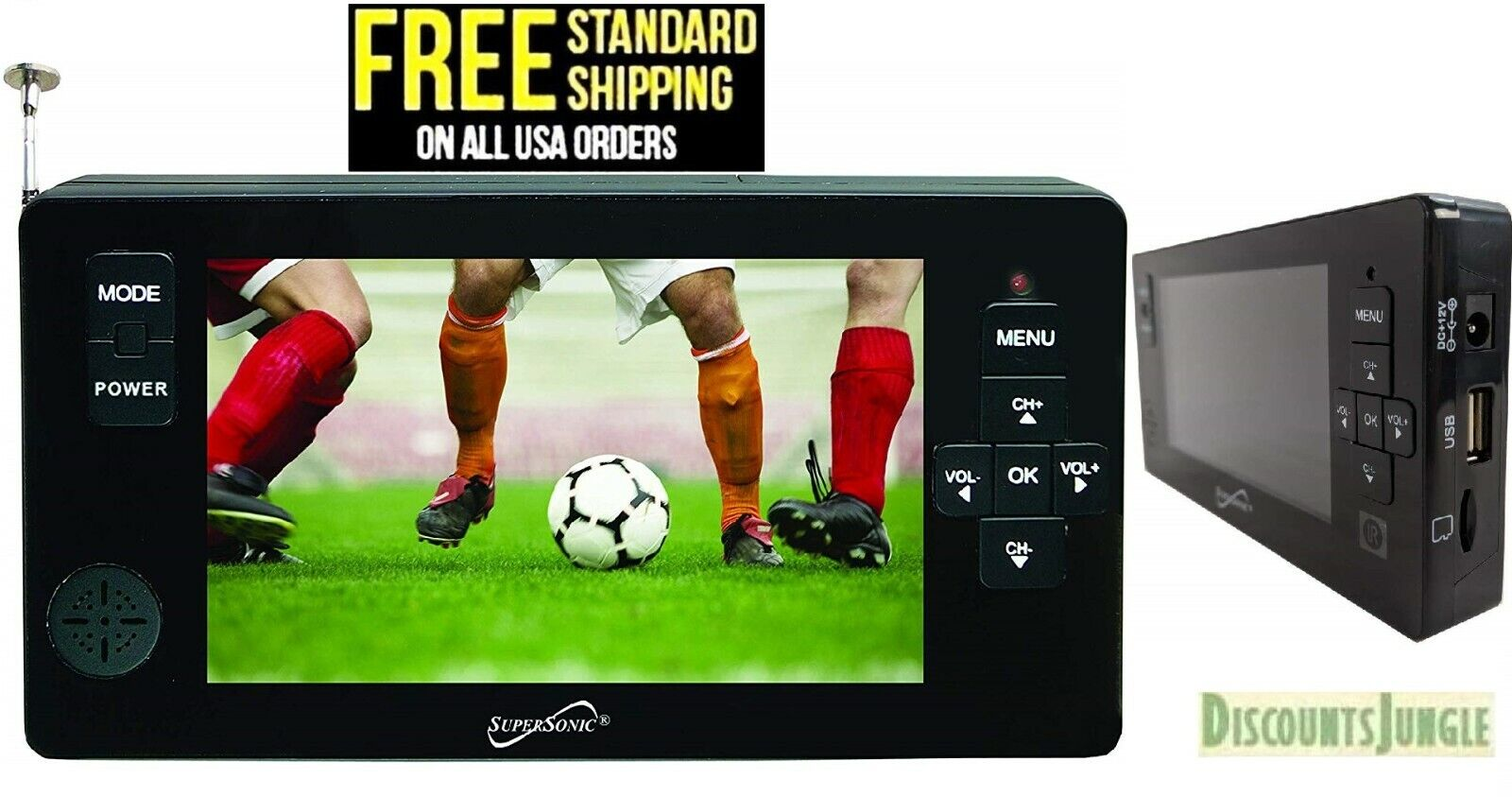 """SUPERSONIC SC-143 Supersonic 4.3"""" Portable Digital LED TV with USB SC143-NEW"""