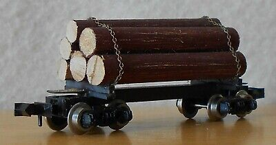 N scale freight car 30' log car with chained wood load 6 logs black excellent for sale  Vinton