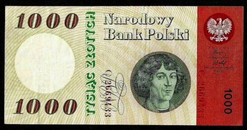 POLAND, POLISH NATIONAL BANK 1000 ZLOTYCH 1965 Series C P#141a VF+